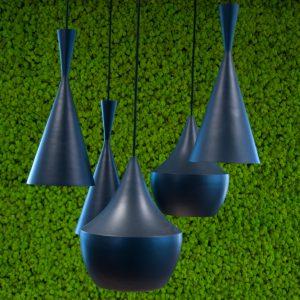 moswand springgreen met lampen
