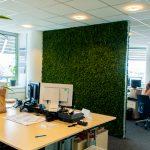 roomdivider mossgreen in kantoortuin