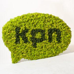 Mosschilderij rendiermos Spring Green met logo in Moss Green