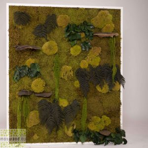 Mosschilderij MosMix met preserved greens 100×120 cm. lijst wit hout